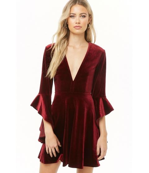 Imbracaminte Femei Forever21 Velvet Angel Sleeve Dress WINE
