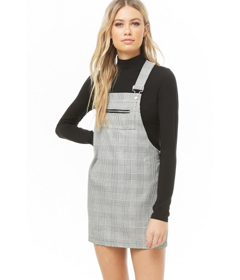 Imbracaminte Femei Forever21 Glen Plaid Mini Overall Dress BLACKWHITE