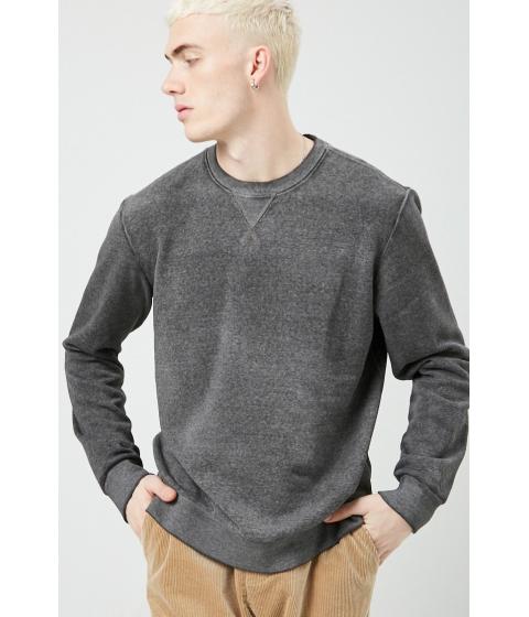 Imbracaminte Barbati Forever21 Fleece Oil Wash Sweatshirt BLACK