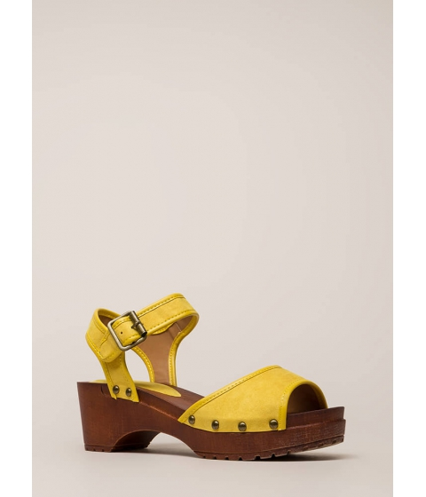 Incaltaminte Femei CheapChic Beach Stud Chunky Platform Sandals Yellow