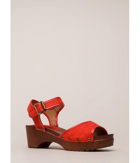 Incaltaminte Femei CheapChic Beach Stud Chunky Platform Sandals Bloodorange