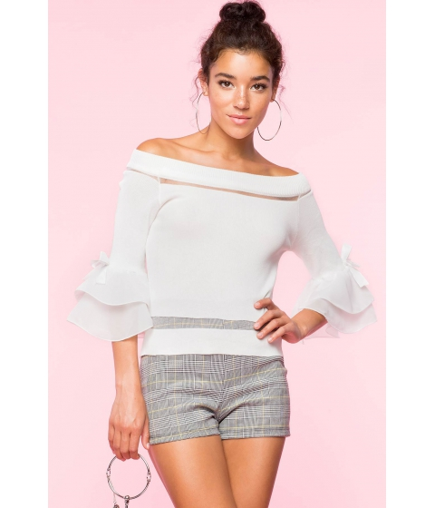 Imbracaminte Femei CheapChic Aubrey Knit Off Shoulder Bell Sleeve Top White