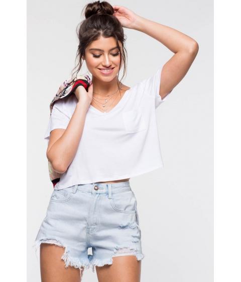 Imbracaminte Femei CheapChic Rayon Pocket Crop Top White