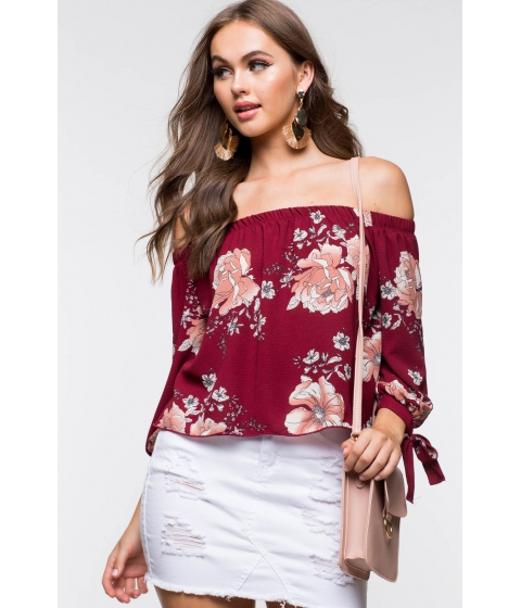 Imbracaminte Femei CheapChic Floral Off Shoulder Top Red Print