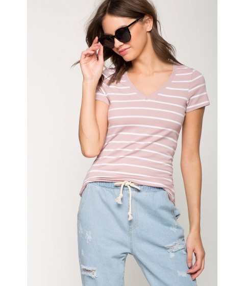 Imbracaminte Femei CheapChic Riley Stripe Basic Tee FuchsiaPink Pattern