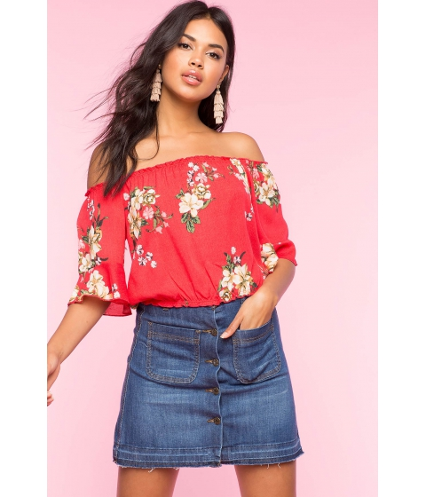 Imbracaminte Femei CheapChic Floral Crop Off Shoulder Top Red Print