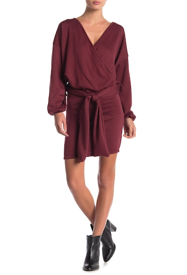 Imbracaminte Femei Go Couture Surplice Neck Sash Dress BURGUNDY
