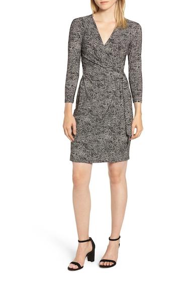 Imbracaminte Femei AK Anne Klein Faux Wrap Jersey Dress ANNE BLKANNE WHT