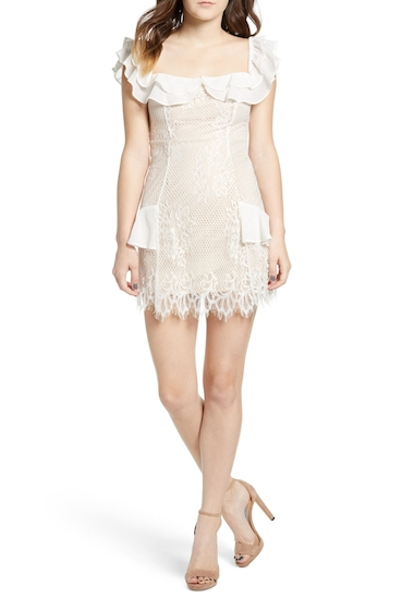 Imbracaminte Femei Lush Embroidered Lace Off the Shoulder Dress IVORY-NUDE