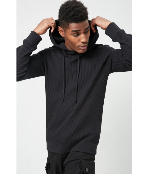 Imbracaminte Barbati Forever21 Hooded Waffle Knit Tee BLACK
