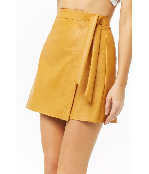 Imbracaminte Femei Forever21 Faux Leather Wrap Mini Skirt MUSTARD