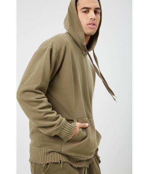 Imbracaminte Barbati Forever21 Distressed-Trim Oil Wash Pullover Hoodie OLIVE