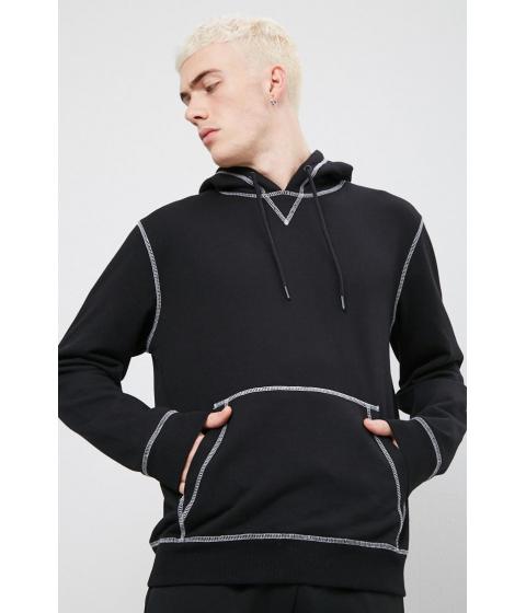 Imbracaminte Barbati Forever21 Contrast-Stitch Drawstring Hoodie BLACK