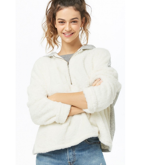 Imbracaminte Femei Forever21 Hooded Marled Faux Fur Pullover IVORY