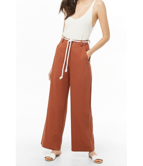 Imbracaminte Femei Forever21 Belted Wide-Leg Pants RUST