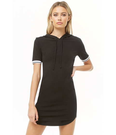 Imbracaminte Femei Forever21 Varsity-Striped Hooded Dress BLACK
