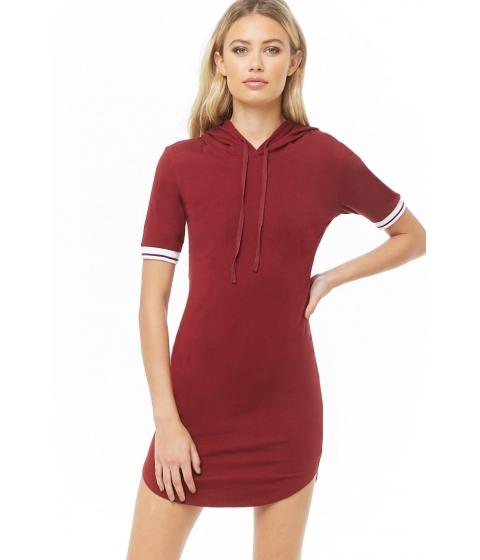 Imbracaminte Femei Forever21 Varsity-Striped Hooded Dress BURGUNDY