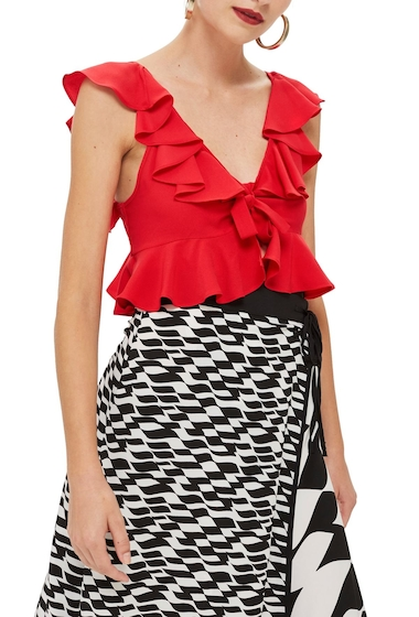 Imbracaminte Femei TOPSHOP Brigitte Ruffle Crop Top RED