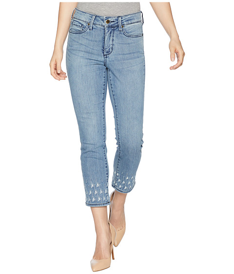 Imbracaminte Femei NYDJ Petite Sheri Slim Ankle Palm Dot Embroidery in Point Dume Point Dume