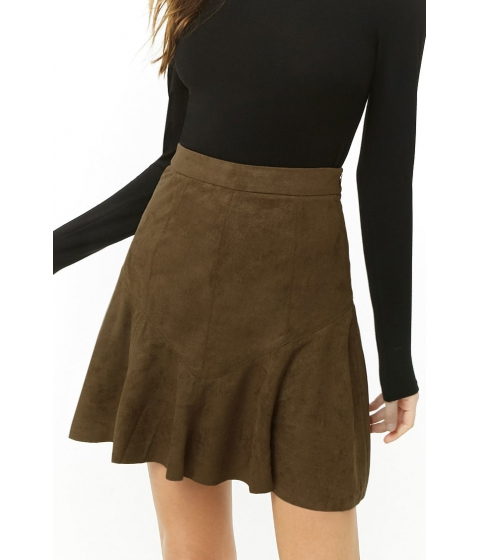 Imbracaminte Femei Forever21 Faux Suede Flounce Mini Skirt OLIVE