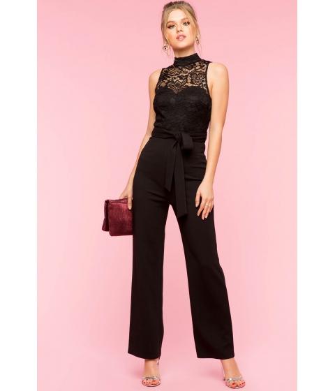 Imbracaminte Femei CheapChic Mock Neck Lace Wide Leg Jumpsuit Black