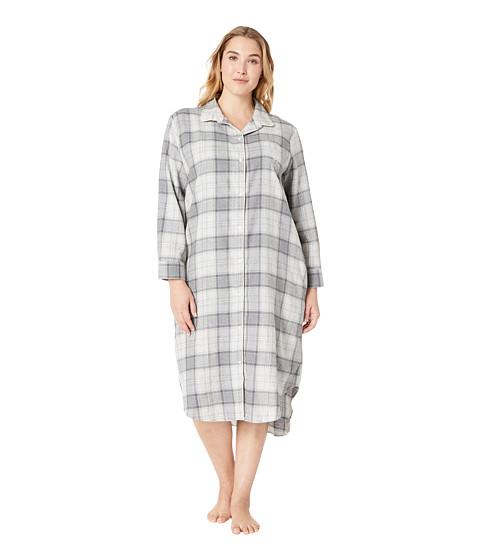 Imbracaminte Femei LAUREN Ralph Lauren Plus Size Long Sleeve Ballet Length Sleepshirt Grey Plaid