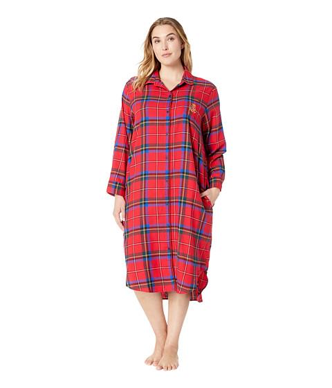 Imbracaminte Femei LAUREN Ralph Lauren Plus Size Long Sleeve Ballet Length Sleepshirt Red Plaid