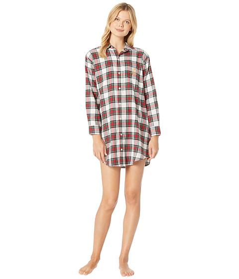 Imbracaminte Femei LAUREN Ralph Lauren Brushed Twill His Shirt Sleepshirt Ivory Plaid