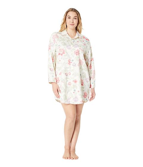 Imbracaminte Femei LAUREN Ralph Lauren Plus Size Sateen Long Sleeve His Shirt Sleepshirt Ivory Floral Print
