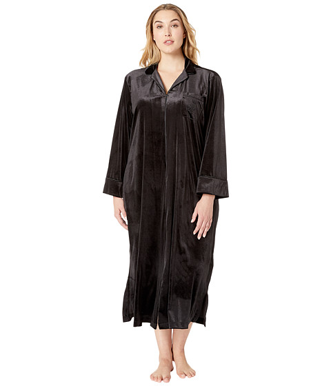Imbracaminte Femei LAUREN Ralph Lauren Plus Size Velvet Long Sleeve Notch Collar Zip Front Caftan Black