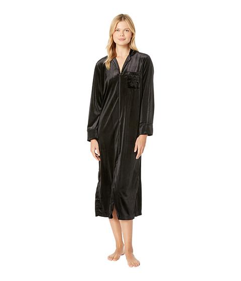 Imbracaminte Femei LAUREN Ralph Lauren Velvet Long Sleeve Notch Collar Zip Front Caftan Black