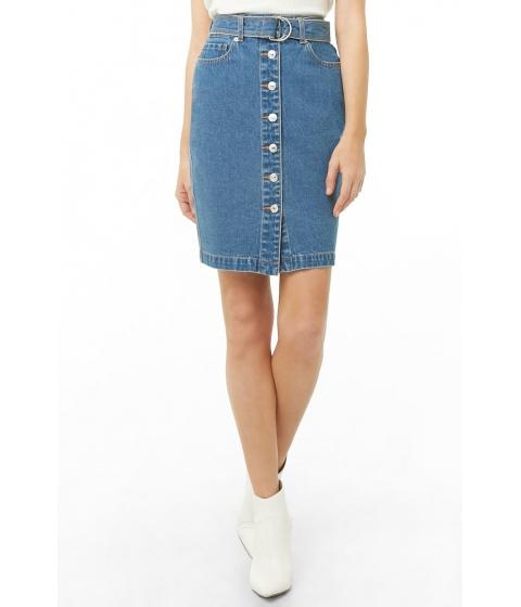 Imbracaminte Femei Forever21 Belted Button-Front Denim Skirt MEDIUM DENIM
