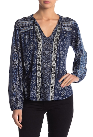 Imbracaminte Femei Lucky Brand Beaded Mixed Print Top BLUE MULTI
