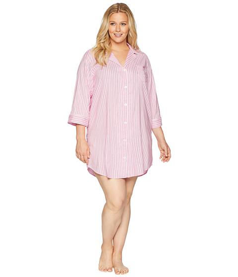 Imbracaminte Femei LAUREN Ralph Lauren Plus Size Classic Woven 34 Sleeve Pointed Notch Collar Sleepshirt Pink Stripe