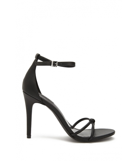 Incaltaminte Femei Forever21 Faux Leather Knotted Ankle-Strap Heels BLACK