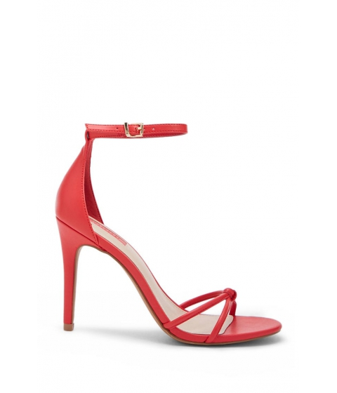 Incaltaminte Femei Forever21 Faux Leather Knotted Ankle-Strap Heels RED