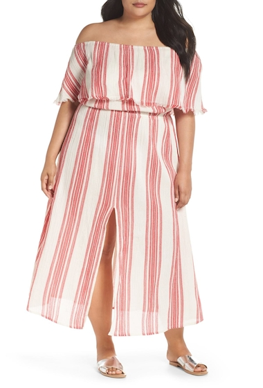 Imbracaminte Femei ELAN Off the Shoulder Cover-Up Dress Plus Size RED STRIPE