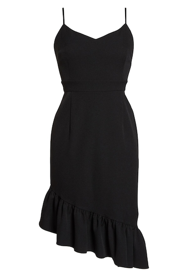 Imbracaminte Femei Chelsea28 Asymmetric Ruffle Hem Dress BLACK