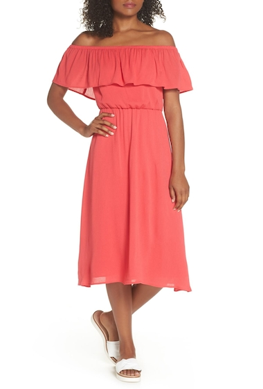 Imbracaminte Femei Charles Henry Off the Shoulder Ruffle Midi Dress CORAL
