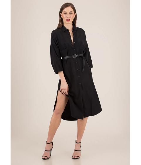 Imbracaminte Femei CheapChic Cool And Casual Snap Button Shirt Dress Black