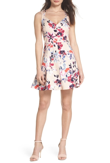 Imbracaminte Femei French Connection Linosa Fit Flare Dress BRLEY PINK