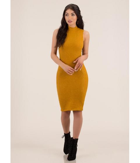 Imbracaminte Femei CheapChic It's Fuzzy Ribbed Mockneck Midi Dress Mustard