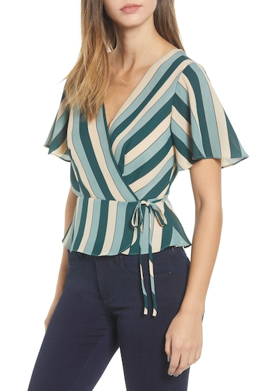 Imbracaminte Femei Leith Stripe Wrap Blouse GREEN BUG CHARMING MULTI