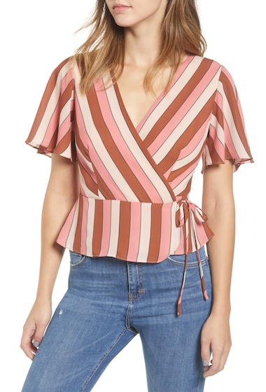 Imbracaminte Femei Leith Stripe Wrap Blouse PINK ROSECLOUD MULTI STR
