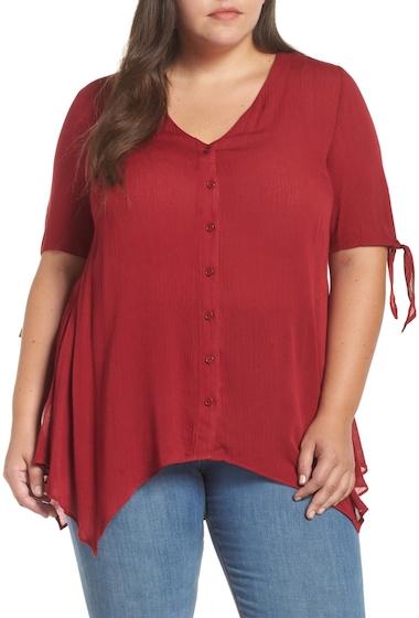 Imbracaminte Femei GLAMOROUS Tie Sleeve Button Front Tunic Top Plus Size MAROON