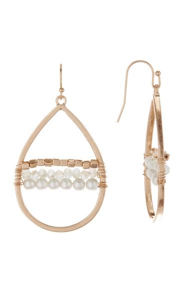 Bijuterii Femei Melrose and Market Woven Beaded Teardrop Earrings GREY- GOLD
