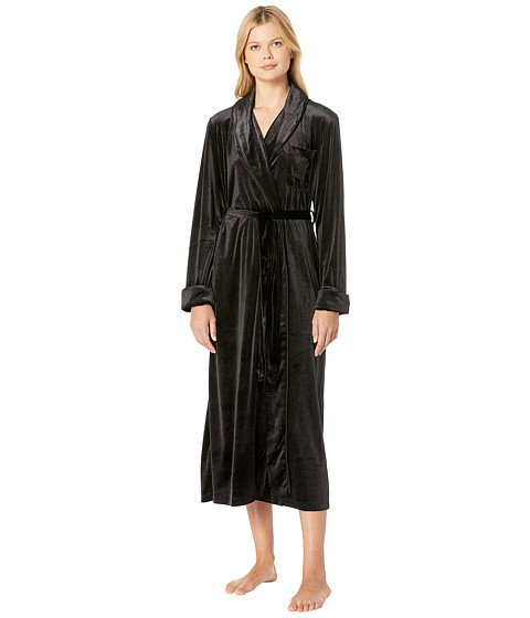 Imbracaminte Femei LAUREN Ralph Lauren Velvet Long Shawl Collar Robe Black