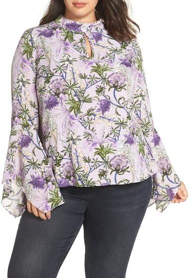 Imbracaminte Femei GLAMOROUS Flared Sleeve Keyhole Blouse Plus Size LILAC FLOWER