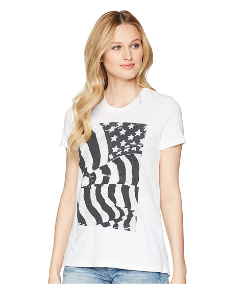 Imbracaminte Femei Lucky Brand Flag Ruched Back Tee Lucky White