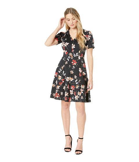 Imbracaminte Femei London Times Puff Sleeve Fit amp Flare Dress BlackCoral
